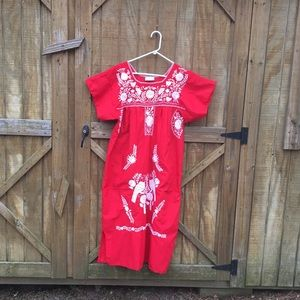 Red Mexican embroidered birds ooaxan dress